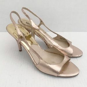 "Michael Kors ""Zoe""Slingback rose gold heels pumps"